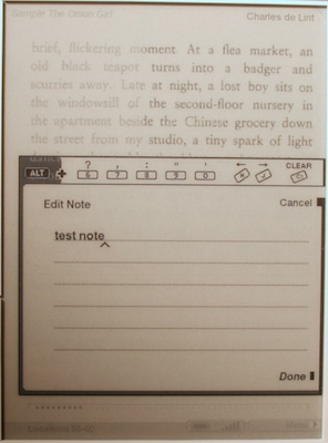 kindle adding a note