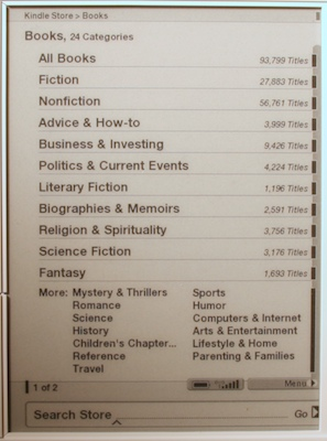 kindle store categories