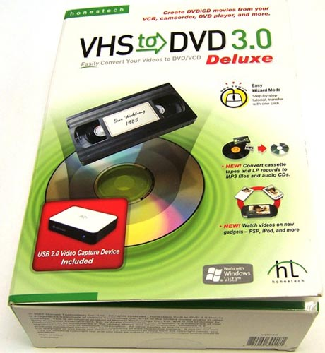 Contents of the Box honestech VHS to DVD 3.0 Deluxe Software CD USB 2.