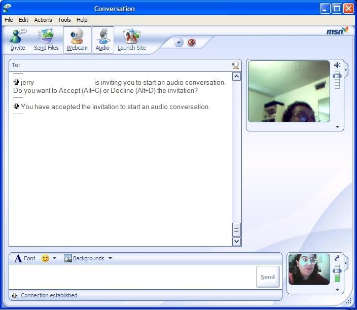 Next, I added audio to the webcam chat. The audio was surprisingly clear.