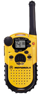 motorola talkabout 250. the talkabout is made of a thick high impact plastic. it feels very sturdy. i wouldn\u0027t be afraid to drop one these radios for fear breaking it. motorola 250 gadgeteer