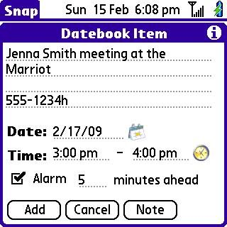 Note #2: Intermediate screen for Datebook- got the time and date right!
