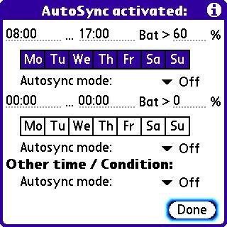 Autosync Preferences Screen