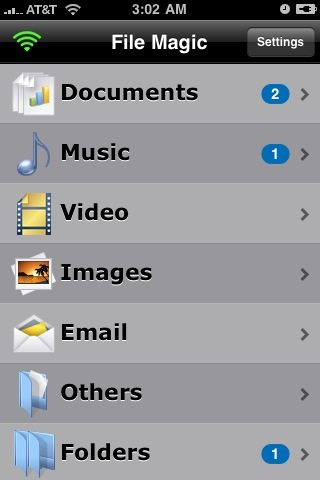 The File Magic iPhone interface groups all files by type.