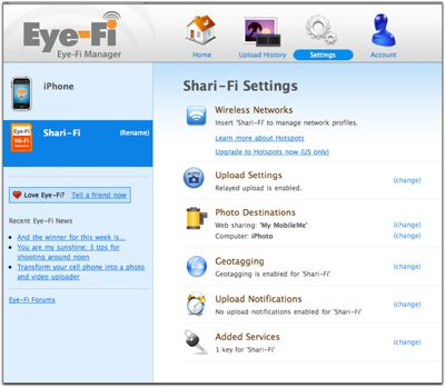 Eye-Fi Management Screen Shot