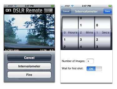 DSLR Remote Intervalometer - timing settings