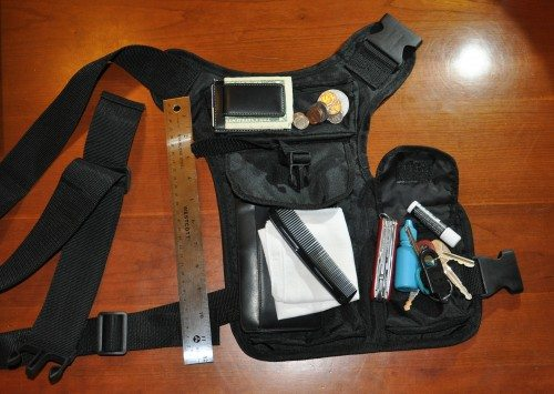 This is all stuff I carry in my pants pockets pretty much every day. Except that one-foot ruler.