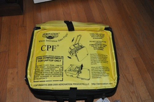 """The laptop section of the 15.4"""" bag. Note the detailed instructions screen-printed onto the lining. I sure hope that information doesn't change. Or maybe they send you a new bag when they do. Who knows?"""