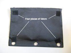 1) Take a $2.50 (or cheaper) pencil case and add some velcro . . .