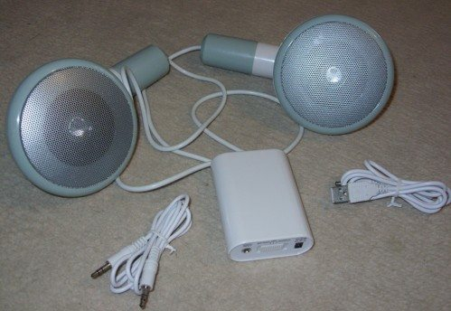 500 XL speakers with the power box, audio cable and USB cable