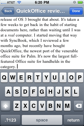 The editing function of QuickOffice is a familiar sight to most iPhone users who have used a note-taking program.