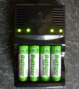 Battizer 'Super' Alkaline Batteries charging & showing LED's lit up