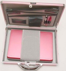 MEZZI LUXslim Aluminum Laptop Case SD Pink Open with Dell