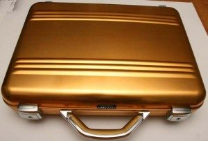 "The Mezzi M-Zero Gold Aluminum Briefcase-the same briefcase that made a cameo appearance on the NBC show ""Chuck""."