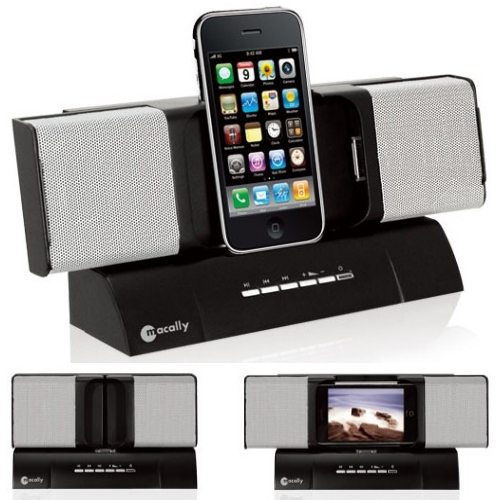 iphone speaker dock macally amptune dual dock speakers and charger for iphone 12336