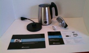 The Keurig Milk Frother:  cup, frothing wand, electrical platform and instruction guide.