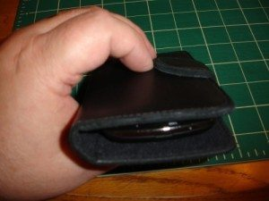 Wallet in use, end view- note the angle of the magnetic tab