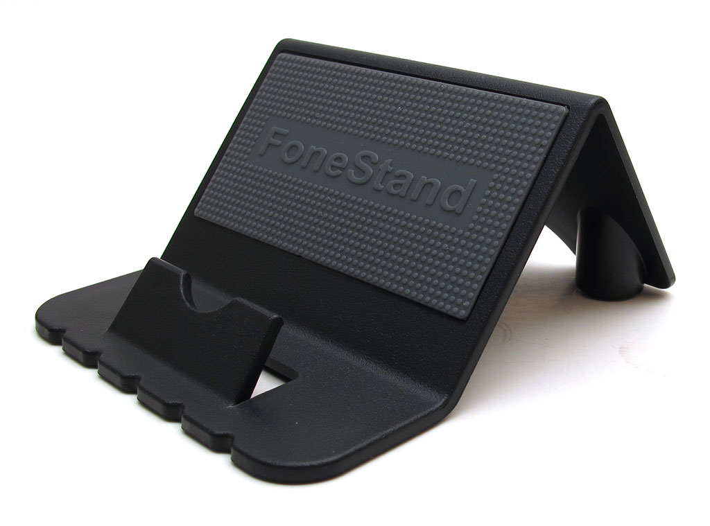 The fonestand is a sturdy plastic stand that is available in black or