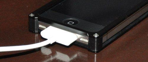 crimson iphonecase plugged