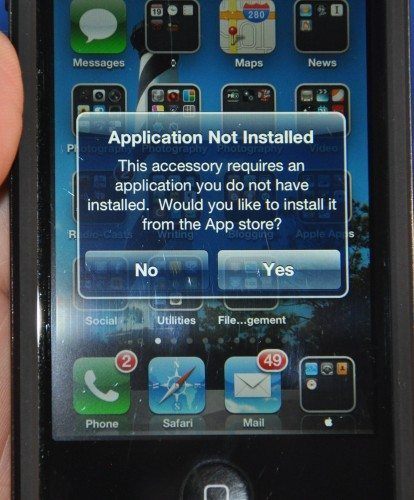 When you put on the case without the app installed, you get a warning message that you need the software. Nice touch!