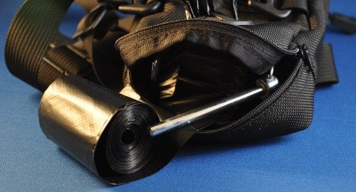 The bag hanger is heavy-duty, yet easy to open for adding new bags.