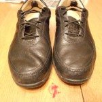 My most shine-able shoes. Both dry wiped, the left one polished.