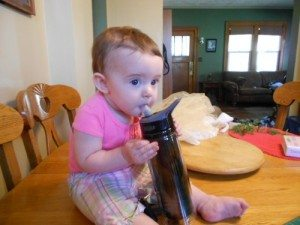 Some people instinctively know how to use the bottle... although she isn't getting much water!
