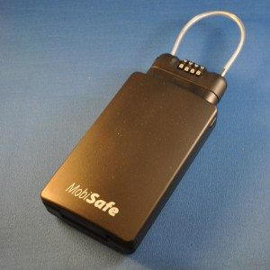 MobiSafe is a compact, high-impact plastic lockbox with a steel cable for security.