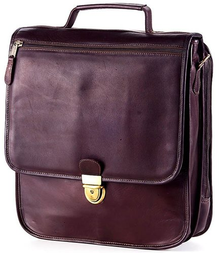 clava upright vertical leather briefcase