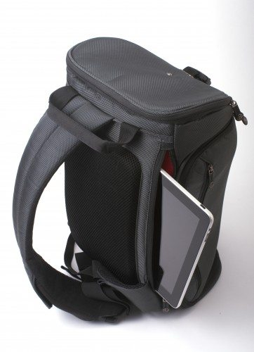 Rear view of the Python, showing the strap and the laptop/tablet pocket.