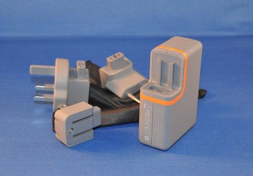 The bold orange stripe indicates there are higher power ports. Sliding out adapters is a simple process.