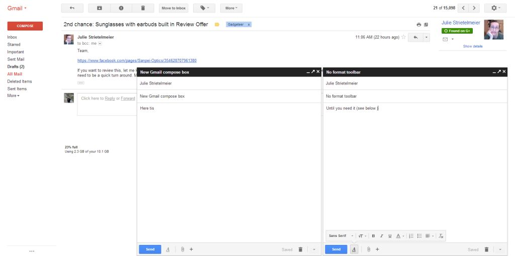 New Gmail Compose window(s) – preview it before it's