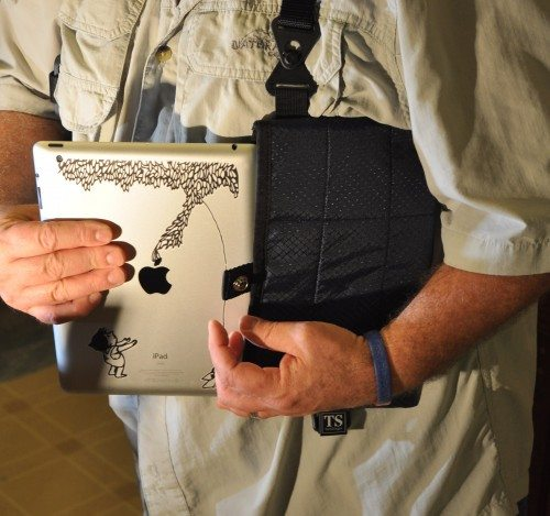 The TechSlinger tablet pocket holds a full-sized iPad easily.