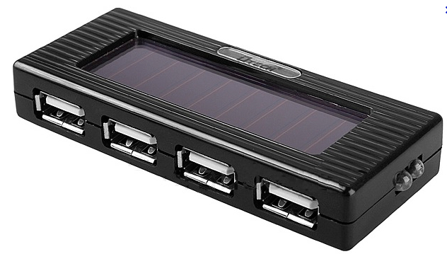 detech solar powered battery 4 port usb hub and charger. Black Bedroom Furniture Sets. Home Design Ideas