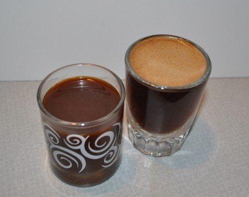 Krups shot on left; Crema on right