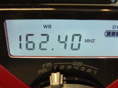 Closeup of radio band selection controls.