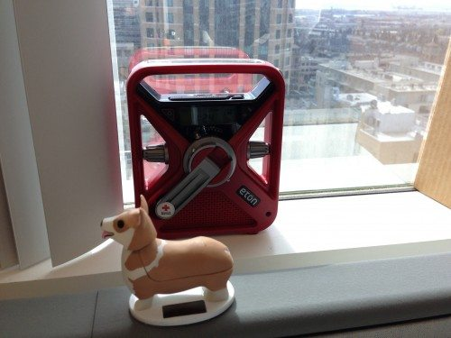 The FRX3 at home on my office window (solar Corgi bobblehead not included)