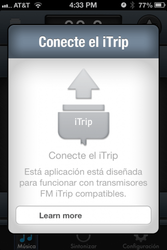 When the iTrip is first connected, you are prompted to download the free iTrip app.
