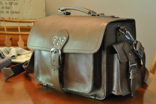 The Leder Mann camera bag is a traditional size and shape, in a buttery-soft brown leather.