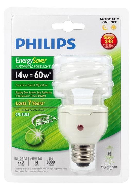 Philips compact fluorescent bulbs with built-in photocell automatically turn on your porch lights