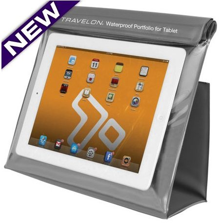 travelon waterproof tablet bag and stand
