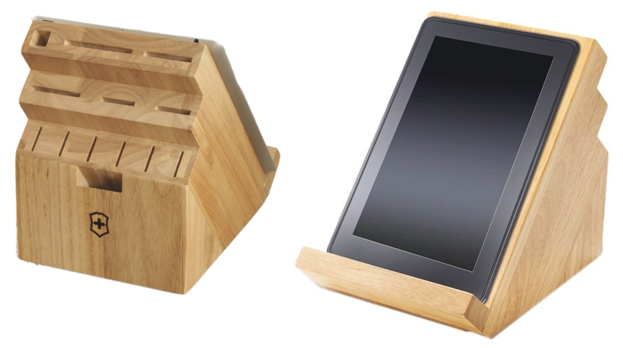 this victorinox knife block also serves as a tablet stand. Black Bedroom Furniture Sets. Home Design Ideas