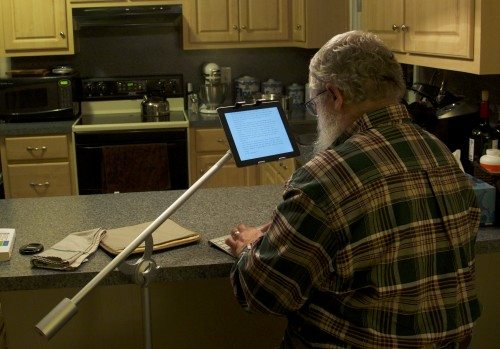 Floating above your keyboard, rather than attached to it, your tablet is much easier to read and type on.
