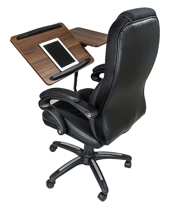 Here's an office chair that serves as a desk, too!