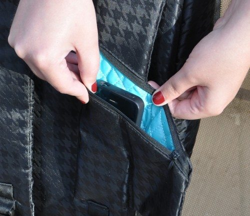 Small electronics or other items can fit into the strap pocket.