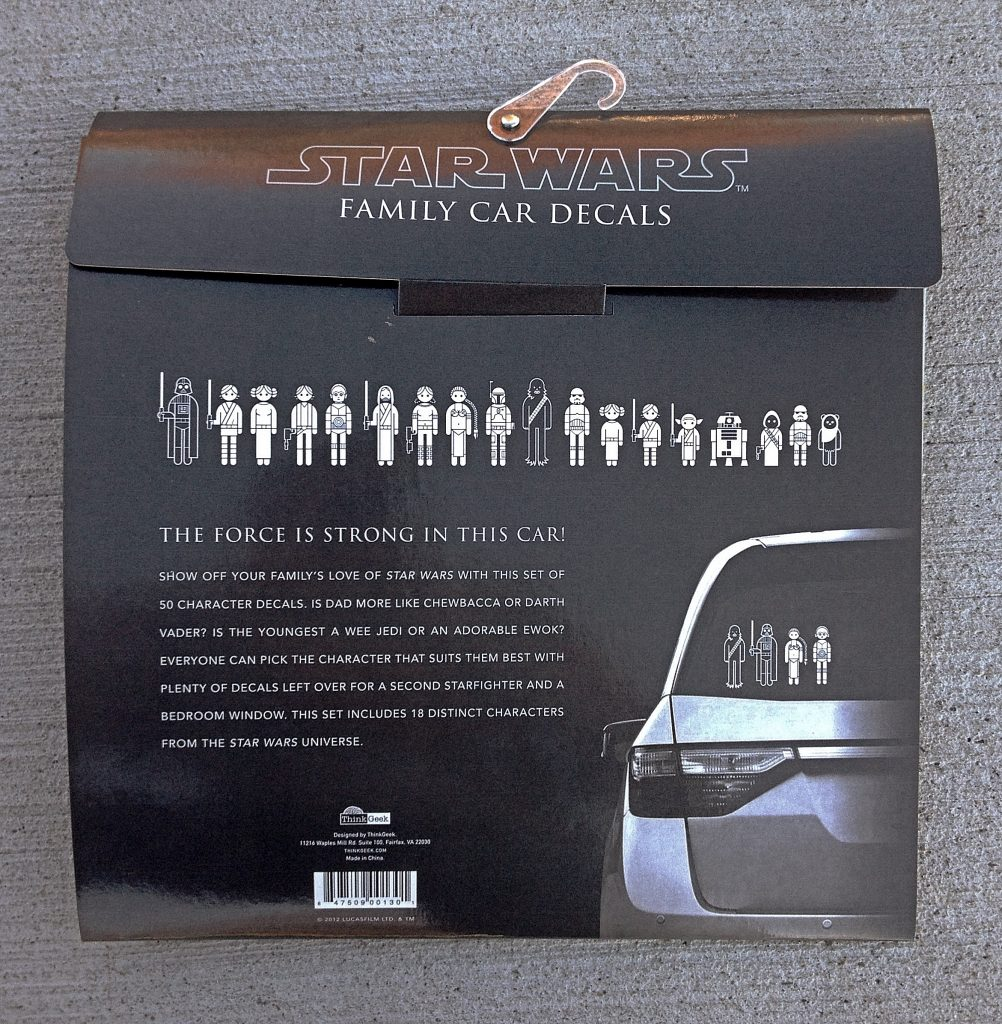 ThinkGeek Star Wars Family Car Decals Review The Gadgeteer - Star wars family car decals