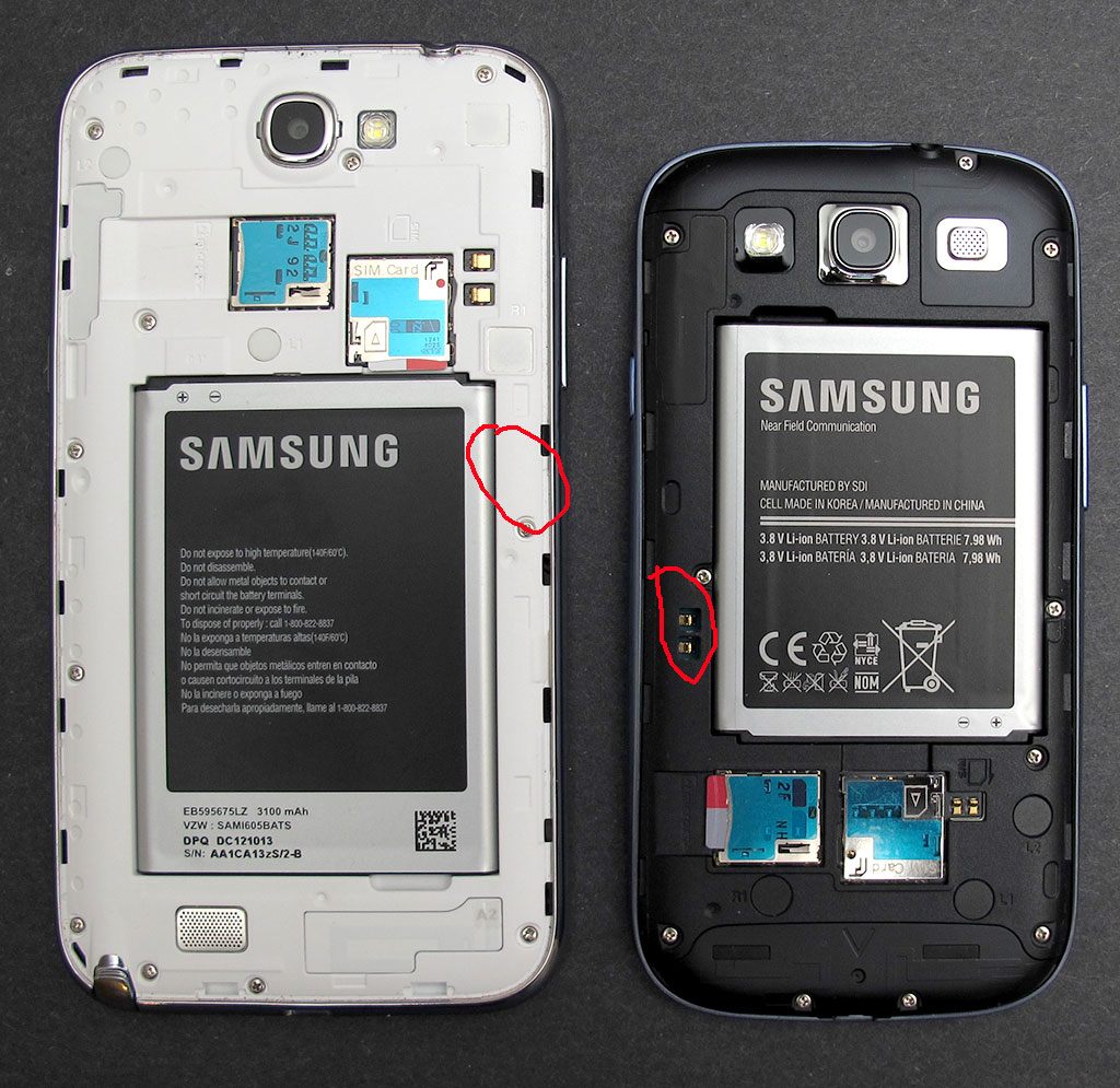 Samsung galaxy battery s3 verizon - In The Image Above You See My Samsung Galaxy Note 2 On The Left And The Galaxy S3 On The Right Circled In Red Are The Qi Wireless Charging Contacts On