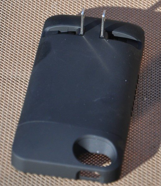 Case with prongs extended for charging.