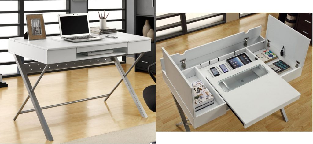 This sleek, modern desk will look at home in your home office or in your  family room. The Hollow-core 'Connect-It' White 48 Tablet Desk's simple  design ...