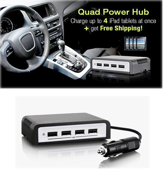 Four port USB charging hub for your car